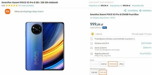 Promocyjna cena Xiaomi POCO X3 Pro w oficjalnym sklepie producenta na Allegro