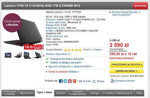 Promocja na Lenovo Y700