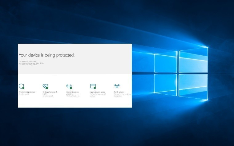 Windows 10 Defender Security Center / fot. Microsoft
