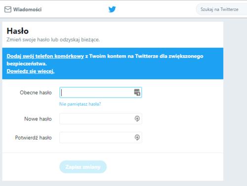 Twitter - resetowanie hasła / Foto: techmaniak.pl