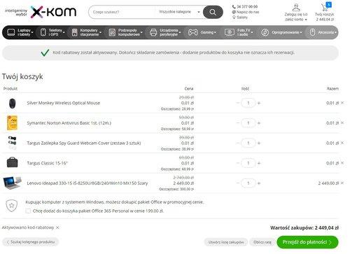 Tydzień laptopów w Xkom - przykładowe zamówienie