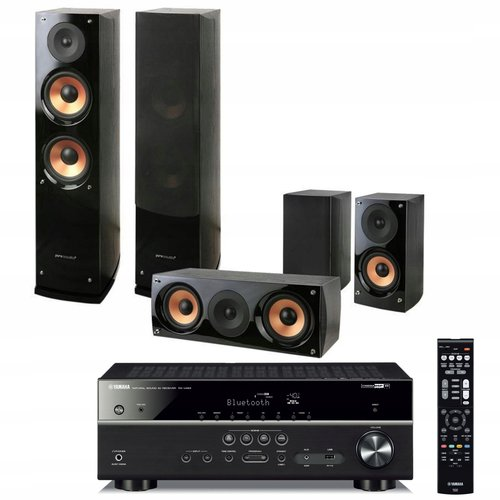 Yamaha MusicCast RX-V483 czarny + Pure Acoustic Nova 6 czarny / fot. Media Markt