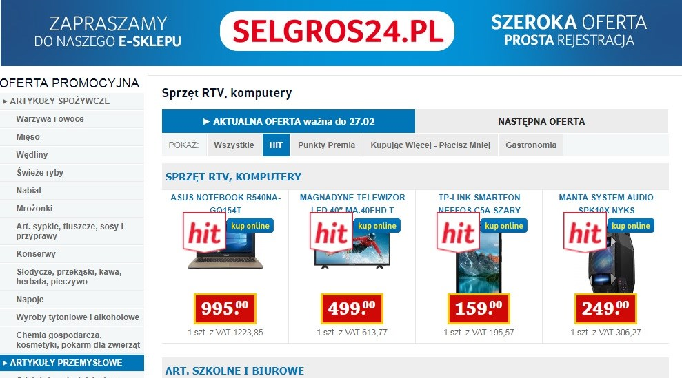 Selgros promocja RTV 14/02 - 27/02/2019