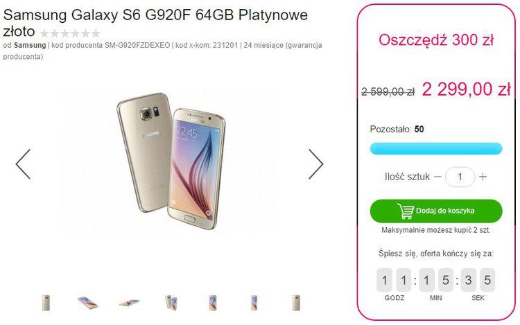 Samsung Galaxy S6 (64GB) w promocyjnej cenie - niższa cena oferta promocyjna Samsung Exynos 7420 X-KOM